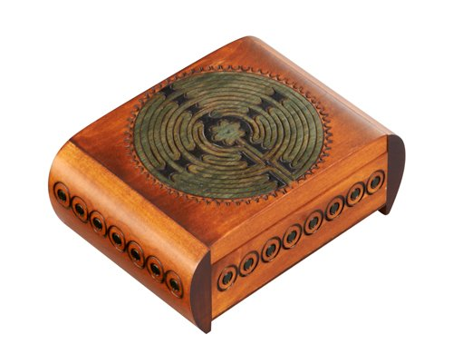 Labyrinth Box with Secret Opening Hand Crafted Wood
