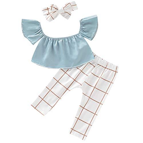 Julhold Kind Baby Kind Mädchen Mode Lässig Baumwolle Off-Schulter Top + Polyester Floral Plaid Pants + Stirnband 0-3 Jahr