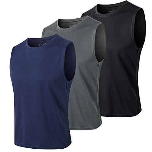 MEETYOO Tank Top Herren, Achselshirts Sport Ärmelloses Shirt Unterhemd Fitness Sleeveless Tshirt für Running Jogging Gym (Schwarz+Blau+Grau, XXL)