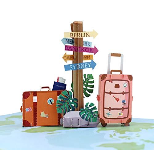 MOKIO® Pop-Up Reisegutschein [NEU!] – 3D Gutscheinkarte zum Urlaub, Geburtstag oder Abschied – Geldgeschenk für Urlaubsgeld, Geschenkkarte zur Reise, Urlaubsgutschein