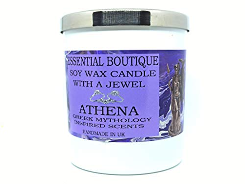 Candle with a jewel Inside Essential Boutique Candle -ATHENA Greek Gods Scents