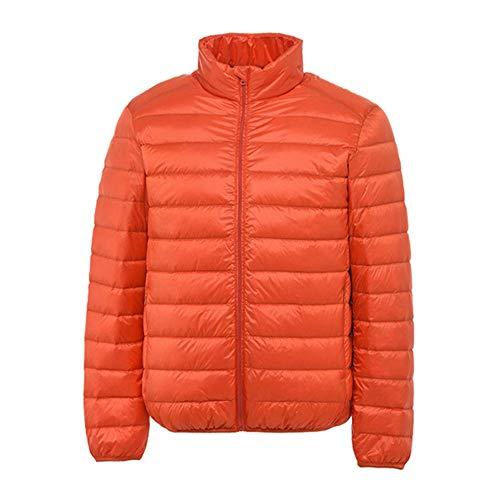 YUQIBXC Herren-Daunenjacke ohne Kapuze, warme Jacke, Jacke, Ultraleggeri, Daunenjacke, Winterjacke für Herren M Arancione