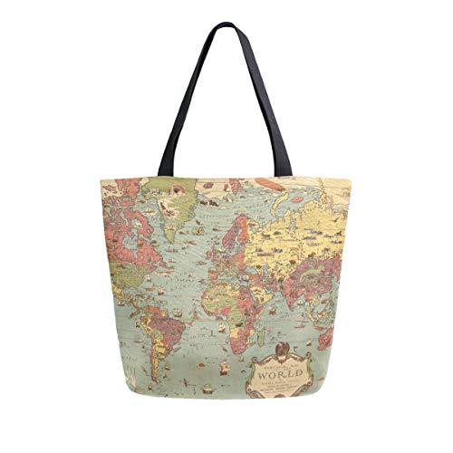 Mnsruu Bolso de lona para el hombro, para mujer, con asa de compras, estilo retro de viaje, mapamundi medieval, Columbus, bolsa de playa, multifunción, para mujer