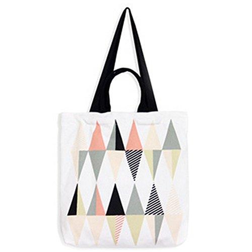 Demarkt strandtas, boodschappentas, zeildoek, geometrisch patroon, kleurrijk, 36 x 40 cm 36*40cm multicolor