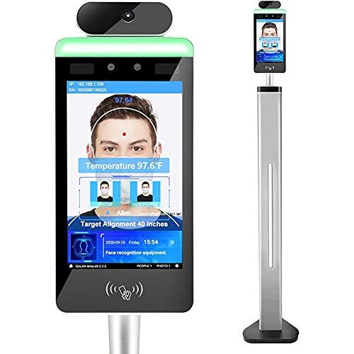DMYY 20 cm trådlös icke-kontakt ansiktsigenkänning temperaturmätningsskanner medpekskärm och ansikte jämförelse bibliotek, allt-i-ett-maskin för detaljhandelsbutiker kontor skolbanker