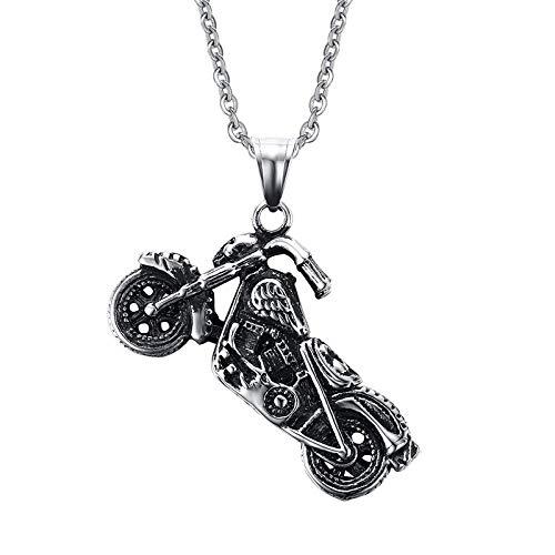 Anhänger Halskette Punk Gothic Schädel Motor Motorrad Anhänger Halskette Biker Edelstahl Persönlichkeit Punk Jewerly Geschenk