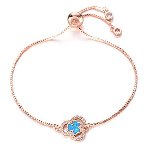 AMINIY Moda Azul Ópalo Pulsera Transparente Zircon Planta Trébol Charm Pulsera Mujer Cadena De Resbalones De Cristal Joyería Regalo De Cumpleaños (Color : Rose Gold)