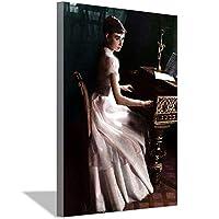 オードリー・ヘップバーンピアノフォトキャンバス絵画アートポスターリビングルーム寝室装飾オフィス家の装飾50x70cm(20x28inch)内枠