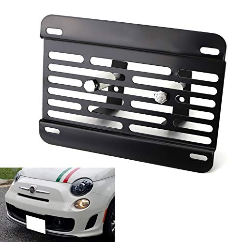 iJDMTOY No Drill Front Grille Mesh Mount License Plate Relocator Kit Compatible With 2013-2019 Fiat 500 or 500e w/Diamond Shape Lower Grille Mesh
