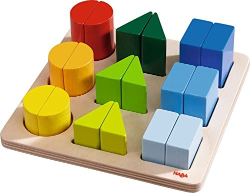 Image of HABA Perfect Pairs - Chunky 18 Piece Wooden Sorting Game - Which Two Halves Make a Whole? Ages 2+