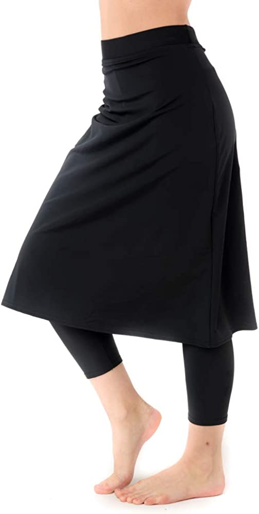 Undercover Waterwear Women's High Waisted Swim Skirt with Attached Leggings- UPF 50+ Cover Up Swim Skirt with Capris Inserted