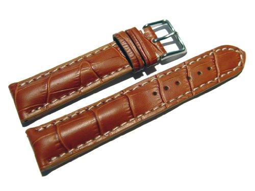Orig. Watchband Berlin - Uhrenarmband - stark gepolstert - Kroko Prägung - Hellbraun - 24mm