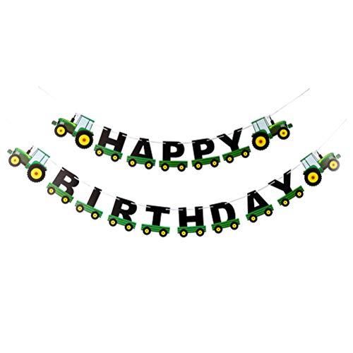 BESTOYARD Birthday Banner Tractor Garland Bunting for Birthday Decoration Tractor Party Supplies (Green)