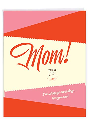 NobleWorks - Jumbo Card for Mothers Day (8.5 x 11 Inch) - Funny Card, Big Words of Appreciation - Sorry For Swearing J6944MDG