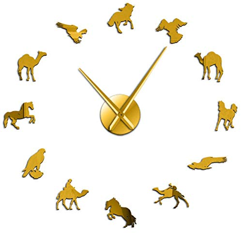YQDSY Exquisito Camello Árabe Caballo Peregrino Halcón Diseños Mixtos Diy Gigante Reloj de Pared Postre Animales de Pared Arte Silencioso sin M Reloj de Pared 37 Pulgadas-Oro sin Ma
