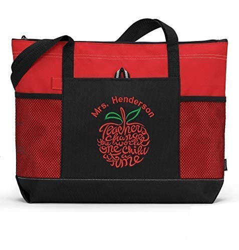 Personalized Teacher Tote Bag with Mesh Pockets