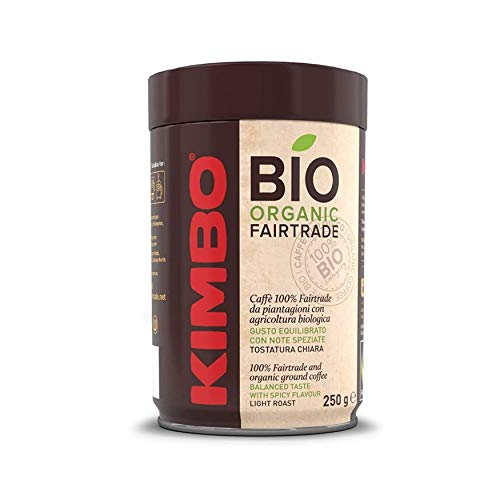 Kimbo Kit di Caffè Macinato Biologico ed Equosolidale - 4 Barattoli da 250g