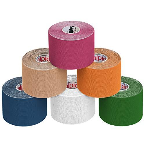ALPIDEX 6 Rotoli Nastro Kinesiologico 5 m x 5,0 cm E-Book Esempi Applicazione Tape Kinesiologico Muscolare Cerotto, Colore:misto