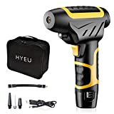 HYEU Cordless Tyre Inflator Handheld Portable Air Compressor 12V 140 PSI Electric Pump with LCD Display and Rechargeable Battery for Car, Motorcycle, Bicycle, Balls