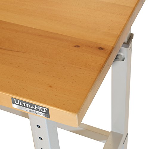 Seville Classics UltraHD Height Adjustable 4-Foot Heavy-Duty Wood Top Workbench Table, 48
