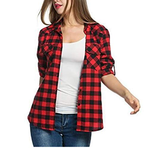 HJHK T Shirts Womens Long Sleeve Elegant Plaid with Pockets Button Loose Sweatshirt Lightweight Breathable Fitness Jogging Tops Autumn Christmas All-Match Shirts L