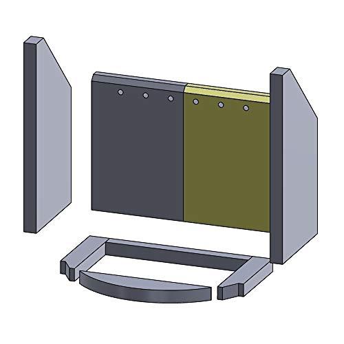 Flamado Feuerraumauskleidung Rückwandstein geeignet für Rechts passend für Techfire Kamin Ersatzteile Kaminofen Brennraumauskleidung Schamotte 265 x 183 x 25 mm 1.350°C