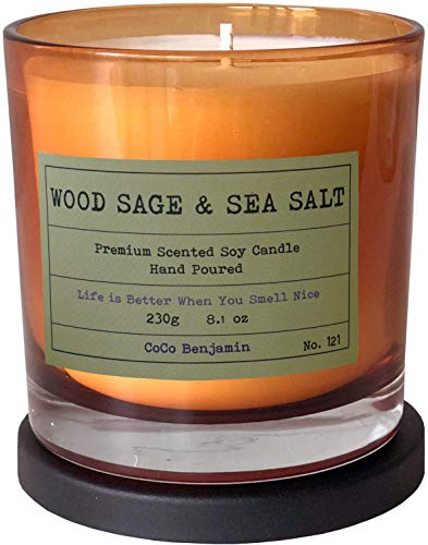 Soy Candle , Highly Scented, Hand Poured, 8.1 oz (Wood Sage & Sea Salt)
