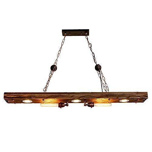 YFMYY Iluminación de la casa de campo Lámpara de luz rústica con vigas de madera desgastadas - Lámpara de techo empotrada con vigas de madera (5 luces) - Ideal for la iluminación de la isla de la coci