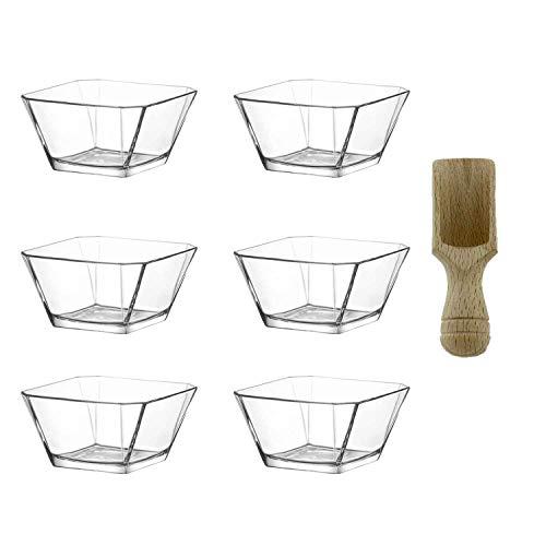 technic24 LAV 6tlg Glasschalen Schalen Glasschale Dessertschale Vorspeise Glas Gläser 300ml inkl. Gewürzlöffel