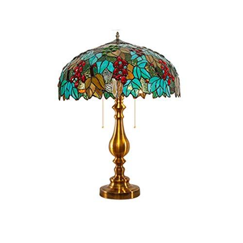 Tiffany - Lámparas de mesa para dormitorio, vintage, diseño artístico, base de hierro