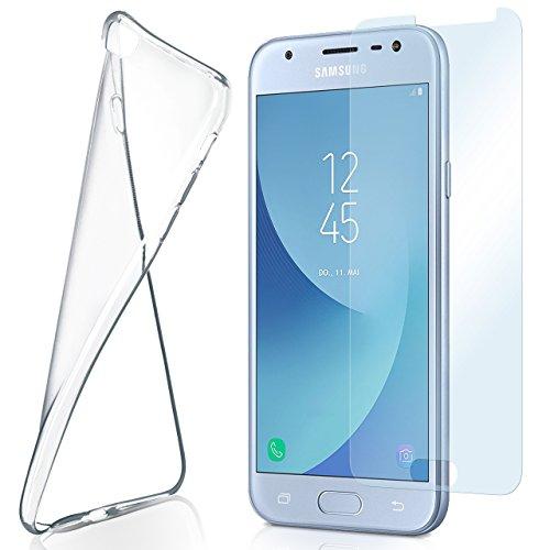 moex Aero Hülle mit Panzerglas für Samsung Galaxy J3 (2017) - Hülle mit Schutzfolie, transparent - Crystal Clear