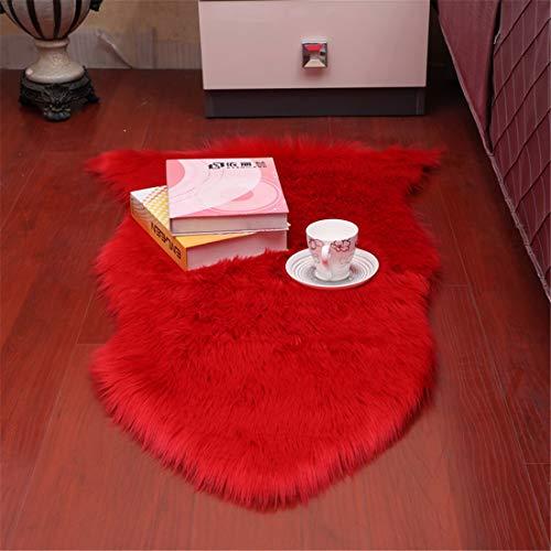 GLITZFAS Teppich Kunstfell Schaffell Lammfellimitat Teppich Longhair Fell Optik Nachahmung Wolle Bettvorleger Sofa Matte (Rot, 60 * 90cm)