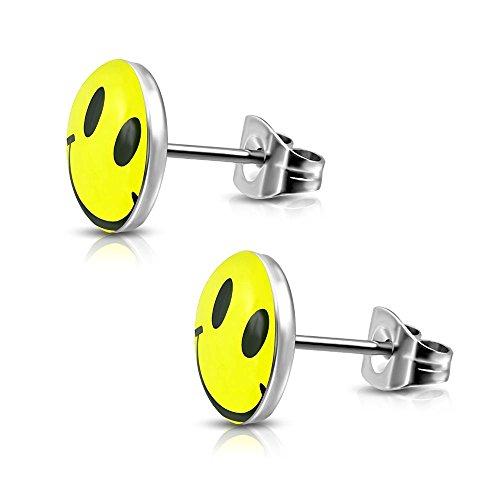 Bungsa© FRÖHLICHER SMILEY Ohrstecker Set silber/gelb - runde Ohrringe mit lachendem SMILEY - nickelfreier EDELSTAHL Ohrschmuck für Kinder, Frauen & Männer - niedliche EMOJI Earstuds mit Smiley