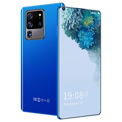 TeléFonos MóViles, Smartphones Desbloqueados, 6,82 Pulgadas HDPantalla Completa Perforada TeléFonos Dual Sim Celulares por 3500 mAh, ExtensióN De 128GB, Reconocimiento Facial(Azul)