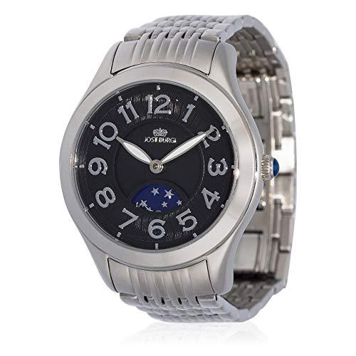 Reloj Jost Burgi para mujer de cuarzo – 33 mm – Esfera negra – Correa de acero plateado – HB4A10C2BM1