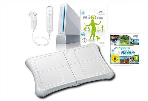 Wii-Konsole, Nintendo, Wii Fit Plus Set weiß Ihr persönlicher Fitnesstrainer Mit Wii Sports + Wii Sports Resort inkl. Wii Fit Plus und Balance Board WLAN eingebaut Mit Wiimote Plus und Nunchuck Controller