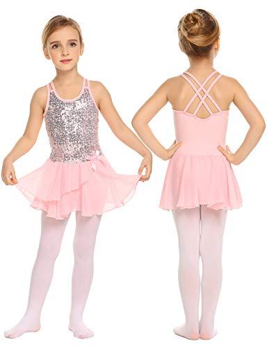 trudge Mädchen Kleid Ballettkleid Kinder Ballett Trikot Ballettanzug mit Tütü Röckchen Pailletten Kleid Shiny Sparkle Fairy Party Fancy Costume
