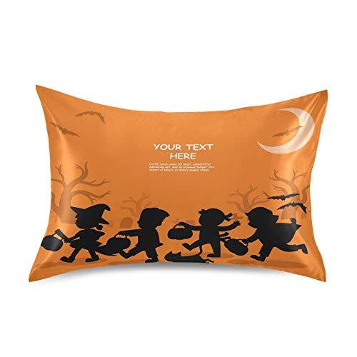 BGIFT - Funda de almohada de satén para Halloween Trick Of Treat (20 x 26 pulgadas), diseño de lazo de Halloween