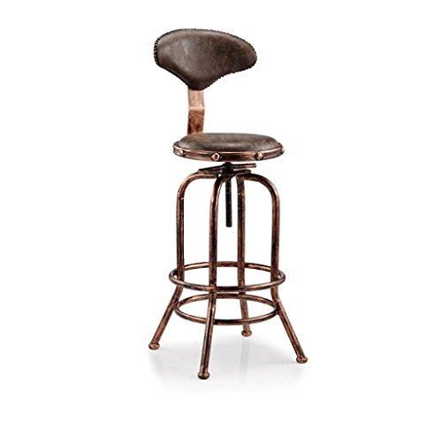 Tabouret de bar rétro, Chaise à vent industrielle, Chaise de réception, chaise de bureau Chaise de café Tabouret haut décoratif rotatif Hauteur de dossier 71-89CM (couleur: D)