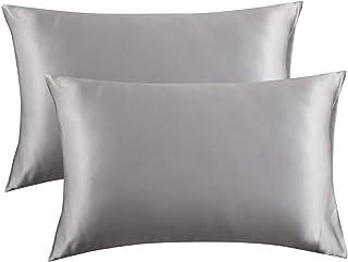 Bedsure Satin Pillowcase for Hair and Skin Queen - Silver Grey Silk Pillowcase 2 Pack 20x30 inches - Satin Pillow Cases Se...