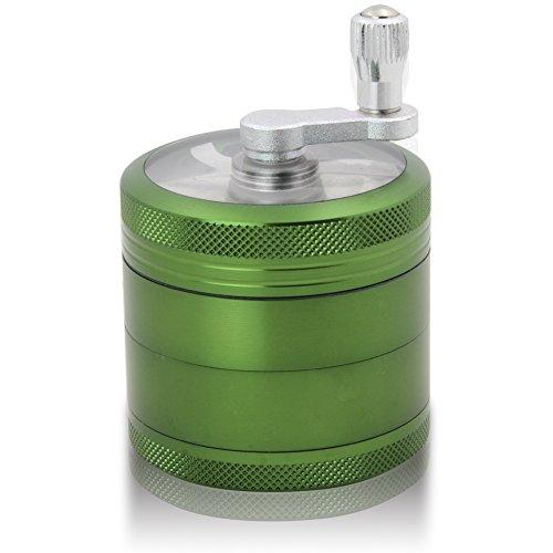 DCOU Grinder Molinillo Manual con Manivela de Aluminio Irrompible para Hierbas y Especias Atrapa Polen 4 Partes 55mm 2.2 Pulgadas (Verde 55 MM)
