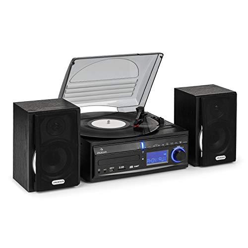 AUNA DS-2 - Chaîne stéréo, Platine Vinyle, Lecteur CD, Récepteur Radio, Entrées USB/SD, Fonction enregistreur MP3, Horloge intégrée, Fonction réveil, Egaliseur - Noir