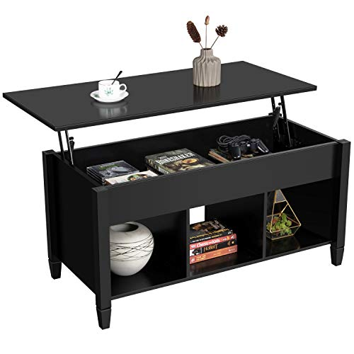 Yaheetech Lift Top Coffee Table with Hidden Compartment and Storage Shelf for Living Room, Wooden Lift Tabletop Cocktail Table, Accent Home Furniture