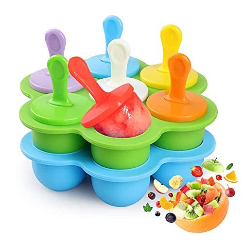 Mini Silikon Popsicle Form 7 Mulden, Eiscreme-Form, DIY Ice Pop Form mit bunten Kunststoff-Sticks, Eis Makers für Ei, Lollipop und Eis Form Baby Food Storage Container, Antihaft Ice Cube Tray, 2pcs