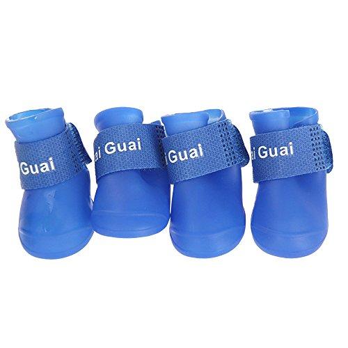 HuntGold New 4 PCS Imperméable de PVC Bottes Petites Chaussures de Pluie pour Chien Chiot(Blue Taille: L)