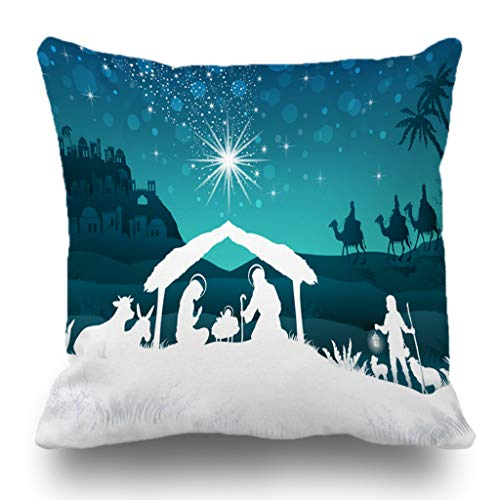 Batmerry Merry Christmas Theme Decorative Pillow Covers 18 x 18 inch,Nativity Scene Family Oriental Gradient Christmas Star Double Sided Throw Pillow Covers Sofa Cushion Cover Lumbar Pillowcase