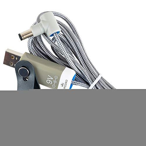 MyVolts Ripcord-USB-Ladekabel mit 9V DC Ausgangsstecker kompatibel mit Farfisa F326 Keyboard