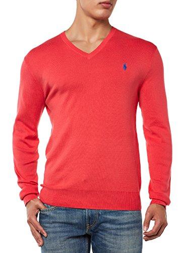 Ralph Lauren A40S4603-C4782 maglia uomo maglione scollo a V cotone pima slim fit (XL, Rosso)