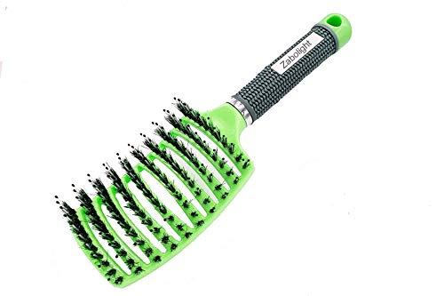 Zabolight Premium Vent Boar Bristle Hair Brush Vented Detangling Oversize Hair Brush for Thick Long Curly Hair, Curved Fast Blow Drying Brush for Women & Men (Blue)