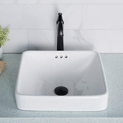 Kraus KCR-281-2PK Elavo - Lavabo de baño cuadrado semicerrado, porcelana blanca con rebosad